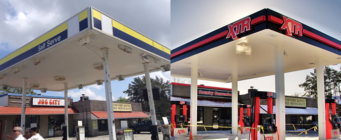 Gas station before and after XTR branding